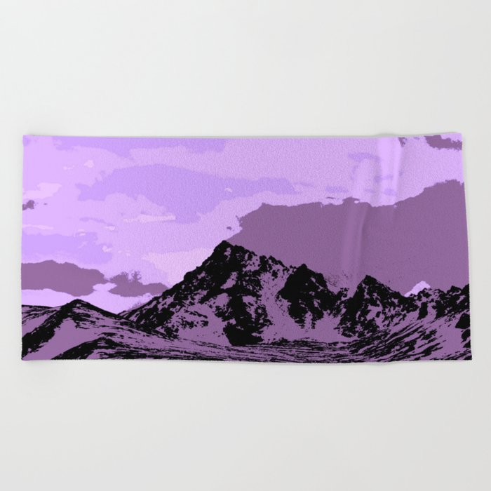 Chugach Mountains - EggPlant Pop Art Beach Towel