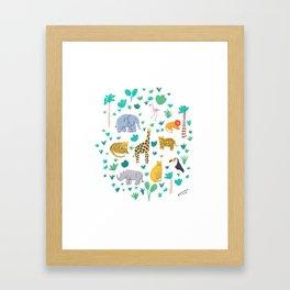 Jungle Animals Illustration Framed Art Print