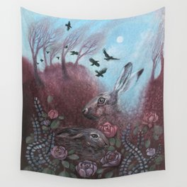 Hares and Crows Wall Tapestry