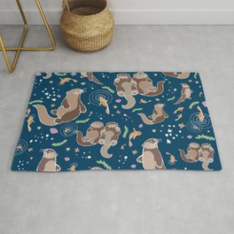 Sea Otters at Night Rug