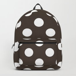 Taupe - grey - White Polka Dots - Pois Pattern Backpack
