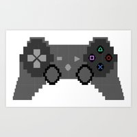 video game Art Prints featuring Pixelized Video Game Controller by Merr Peng