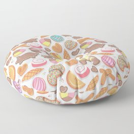 Mexican Sweet Bakery Frenzy // white background // pastel colors pan dulce Floor Pillow