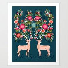 Deer with Flowers by Andrea Lauren  Art Print
