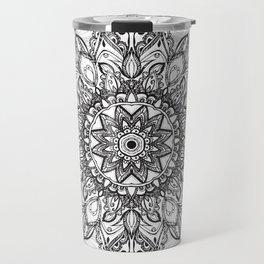 Black Mandala over Grayscale Travel Mug