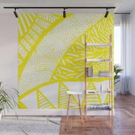 Free Hand Zesty Lemon Doodle Design Wall Mural