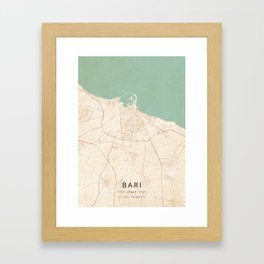 Bari, Italy - Vintage Map Framed Art Print