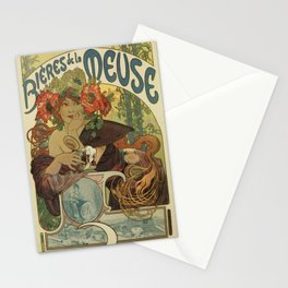 Alfons Mucha art nouveau beer ad Stationery Cards