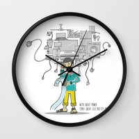 bill Wall Clocks featuring Electricity Bill by Jyoti Khetan
