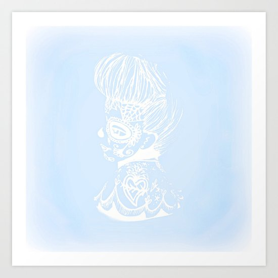Pinup Day of the Dead Girl - Profile - Blue and White Art Print