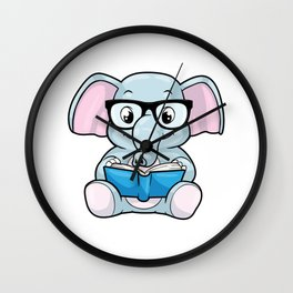 Elephant as Nerd with Glasses & Book Wall Clock