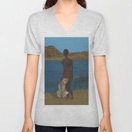 Woman & Cheetah Unisex V-Neck