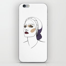 Woman in headscarf with smoky eyes. Abstract face. Fashion illustration iPhone Skin