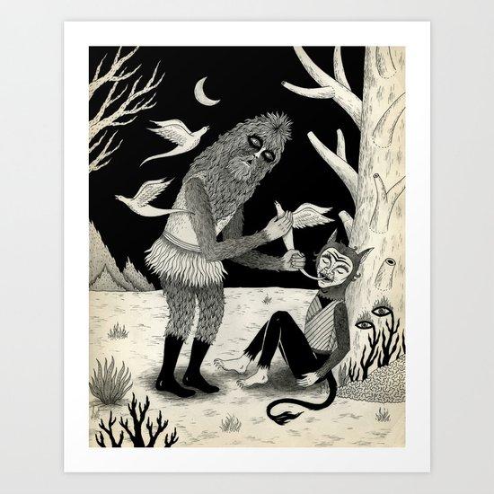 Thievery in the Woods Art Print