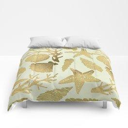 Gold Seashells Comforters