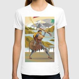 viking with axe in ship in scandinavia mountain T-shirt