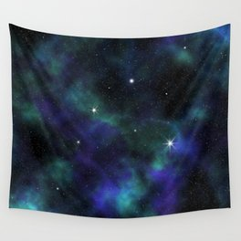 Blue Green Galaxy Wall Tapestry