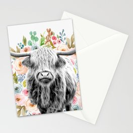 Cutest Highland Cow With Flowers Stationery Cards