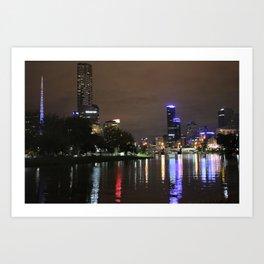 Melbourne skyline at night Art Print
