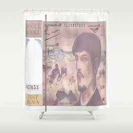 20 Old French Francs note -Front side Shower Curtain