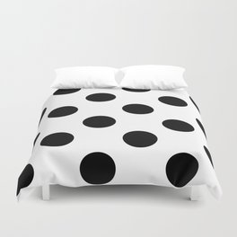 Large Polka Dots - Black on White Duvet Cover