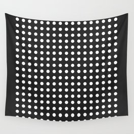 Polka Dots/White on Black Wall Tapestry