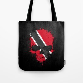 Flag of Trinidad and Tobago on a Chaotic Splatter Skull Tote Bag