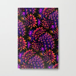 Cactus Floral - Bright Purple/Orange Metal Print