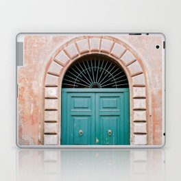 Turquoise Green door in Trastevere, Rome. Travel print Italy - film photography wall art colourful. Laptop & iPad Skin