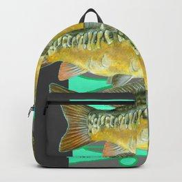 SCHOOL OF GREENISH-YELLOW FISH  IN GREY ART Backpack