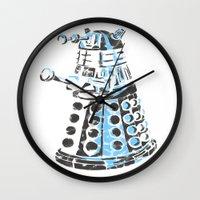 dalek Wall Clocks featuring Dalek Graffiti by spacemonkey89