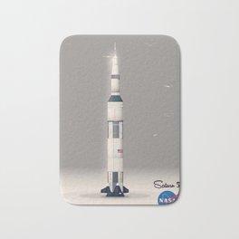 retro Apollo Saturn 5 poster Bath Mat