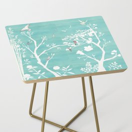 Chinoiserie Panels 1-2 White Scene on Teal Raw Silk - Casart Scenoiserie Collection Side Table