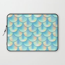 Teal Green Mermaid Pattern, Holographic Fish Scale Print Laptop Sleeve