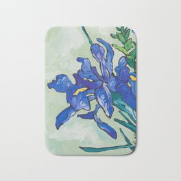 Iris Bouquet in Chinoiserie Vase on Blue and White Striped Tablecloth on Painterly Mint Green Bath Mat