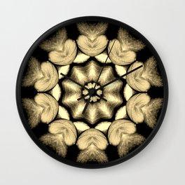 Beige Black Heart Mandala Kaleidoscope Pattern Wall Clock