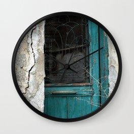 Blue Green Door Wall Clock
