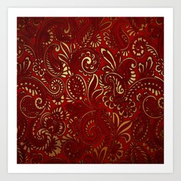 Red Burgundy Deep Gold Paisley Floral Pattern Print Art Print