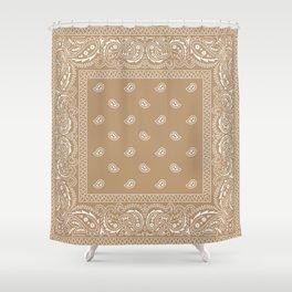 Bandana - Southwestern - Paisley - Latte  Shower Curtain