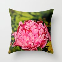 peony Throw Pillows featuring Peony by Svetlana Korneliuk