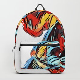 Colorful Silverback Gorilla Red Blue Yellow Scary Ape Backpack