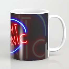"Hitchhiker's Guide - ""Don't Panic"" Neon Sign Coffee Mug"