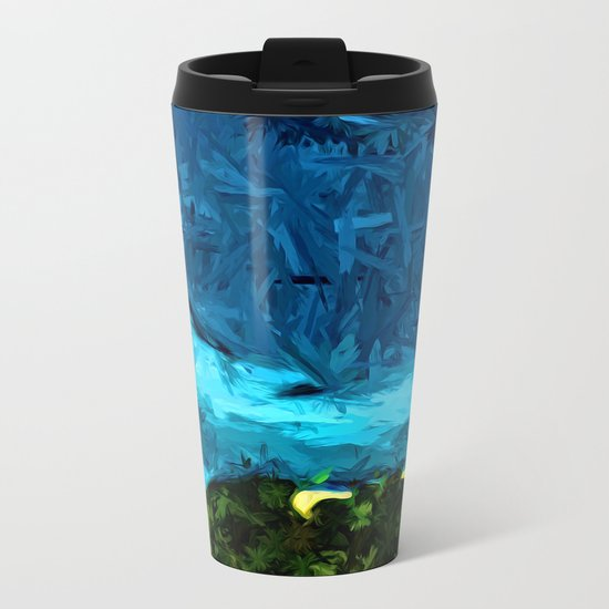Blue Sea with Turquoise Waves and Green Grass Metal Travel Mug