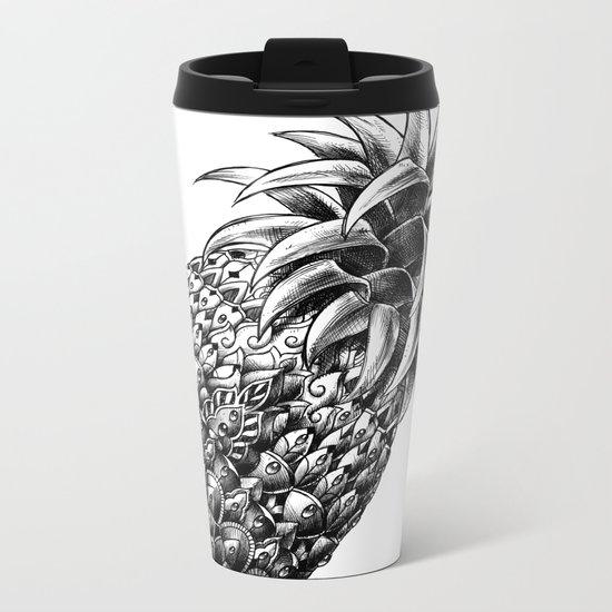 Ornate Pineapple Metal Travel Mug