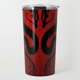 Black and Red Twin Tribal Dragons Travel Mug