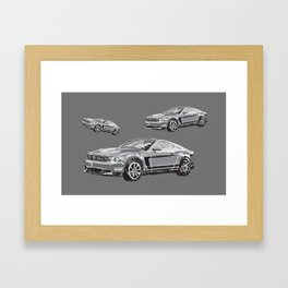 Mustang Digital Painting - Greyscale Framed Art Print