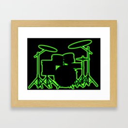 Neon Drum Kit Framed Art Print
