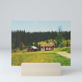 Cabin in the north of Sweden Mini Art Print