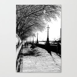 River Thames Path Art Sketch Canvas Print