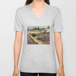 Vincent Van Gogh Flowering Garden Unisex V-Neck